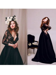 2018 Black V Neck Prom Dress Lace Cheap Long Prom Dress #VB2155 - DemiDress.com