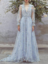 2018 Lace V neck Prom Dress Floral Long Prom Dress #VB2161 - DemiDress.com
