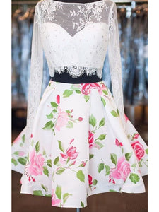 Lace Two Piece Homecoming Dress Floral Cheap Homecoming Dress #VB2165
