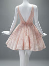 Lace Pink Homecoming Dress A Line Cheap Homecoming Dress #VB2167
