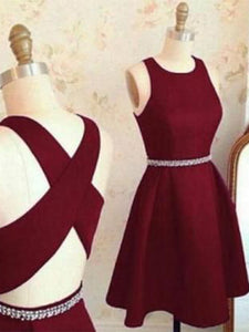 2018 Burgundy Homecoming Dress Simple Cheap Homecoming Dress #VB2169 - DemiDress.com