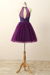 2018 Purple Homecoming Dress Tulle Cheap Homecoming Dress #VB2180 - DemiDress.com