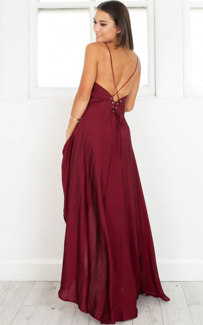 2018 Burgundy Prom Dress Cheap Long Prom Dress #VB2184 - DemiDress.com