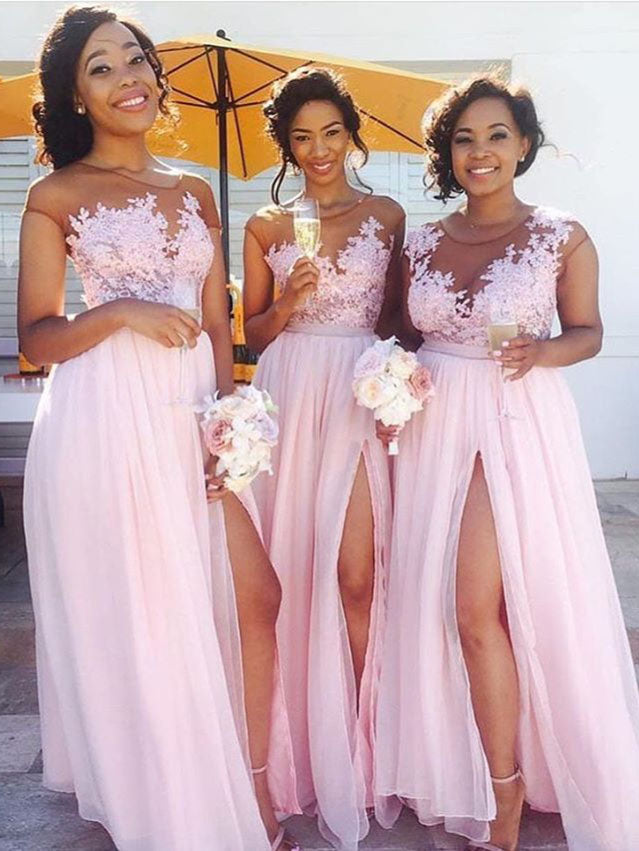 2018 Chiffon Pink Bridesmaid Dresses Cheap Long Bridesmaid Dresses # VB2190