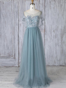 Chic Lace Tulle Prom Dress Cheap Long Prom Dress #VB2191