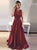 2018 Burgundy Prom Dress Lace Cheap Long Prom Dress #VB2201 - DemiDress.com