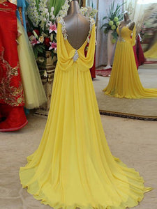 2018 A Line Yellow Prom Dress Chiffon Cheap Long Prom Dress #VB2203 - DemiDress.com