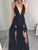 2018 V Neck Black Prom Dress Lace Cheap Long Prom Dress #VB2205