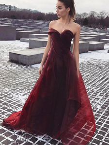 2018 Burgundy Prom Dress Cheap Long Prom Dress #VB2209 - DemiDress.com