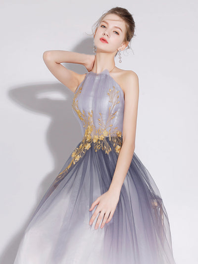2018 A Line Prom Dress Cheap Long Tulle Prom Dress #VB2219 - DemiDress.com