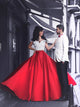 2018 Two Piece Red Prom Dress Cheap Long Prom Dress #VB2230 - DemiDress.com