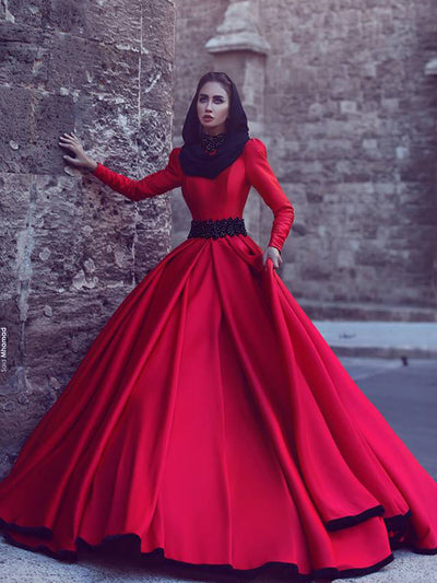 2018 Red Vintage Wedding Dress Long Sleeve Cheap Wedding Dress # VB2232 - DemiDress.com