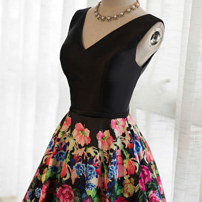 2018 Vintage Prom Dress Party Wear Black Floral Cheap Long Prom Dress #VB2261