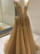 Gold Prom Dress A-line Scoop Custom Made Unique Long Prom Dress # VB228