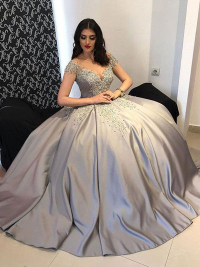 2018 Vintage Prom Dress Ball Gown Silver Prom Dress #VB2283