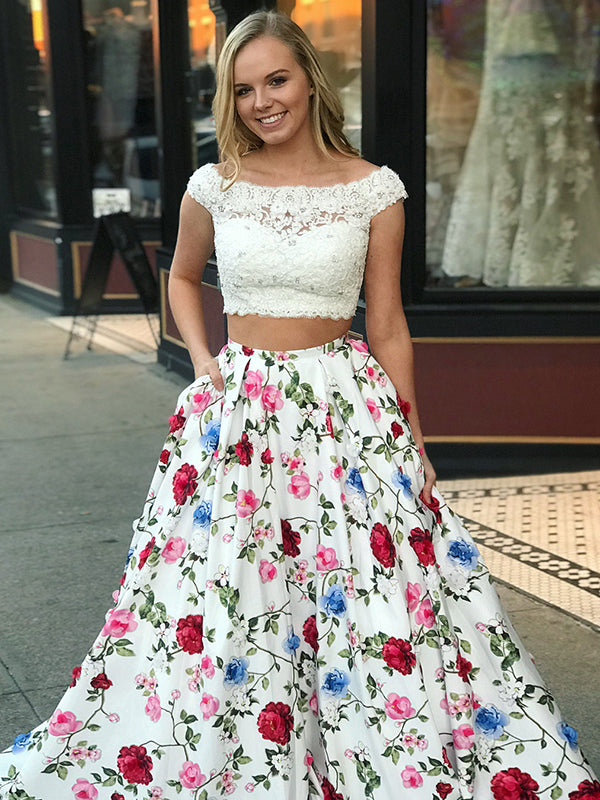 ba51bf9ca6f Two Piece Floral Prom Dress Lace Cheap Long Prom Dress  VB2285 -  DemiDress.com