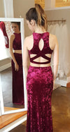 2018 Two Piece Prom Dress Burgundy Long Prom Dress #VB2289 - DemiDress.com