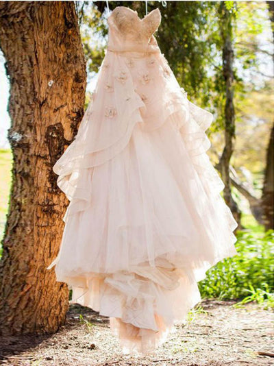 2018 Lace Pink Wedding Dress Vintage Wedding Dress # VB2303 - DemiDress.com