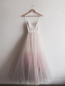 Ombre Pink Prom Dress Tulle Cheap Long Prom Dress #VB2317