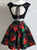 Two Piece Homecoming Dress Party Black Floral Homecoming Dress #VB2319