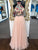 Chic Pink Prom Dress Tulle High Neck Embroidery Prom Dress #VB2329