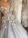 2018 Vintage Silver Wedding Dress Cheap Lace Wedding Dress # VB2338