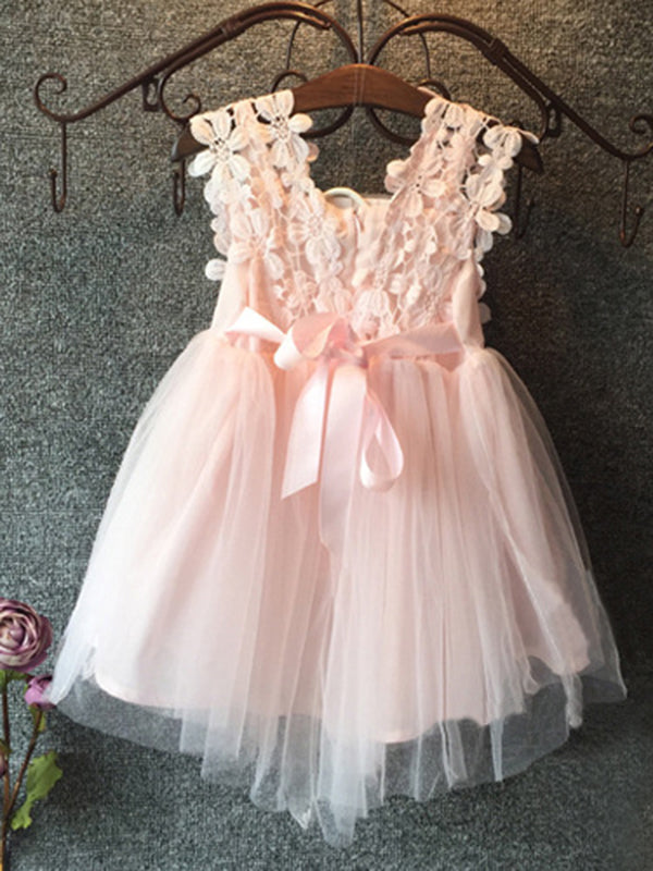 2018 Lace Flower Girl Dresses Pink Cute Cheap Flower Girl Dresses #VB2341