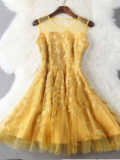 2018 Lace Homecoming Dress Yellow Tulle Cheap Homecoming Dress #VB2363 - DemiDress.com