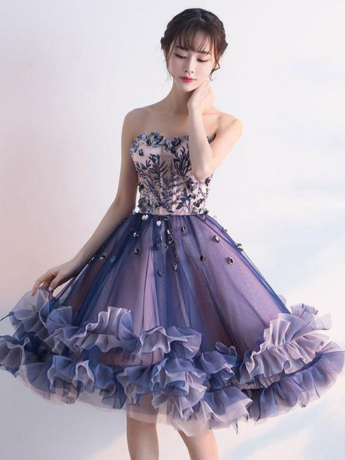 2018 Lace Homecoming Dress Purple Tulle Cheap Homecoming Dress #VB2366
