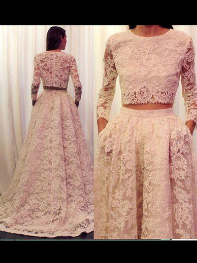 A-line Scoop Floor-length Long Sleeve Tulle Prom Dress/Evening Dress # VB236