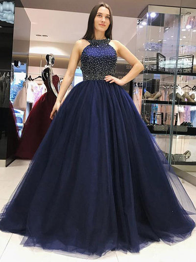 A Line Party Prom Dress Tulle Cheap Long Prom Dress #VB2373