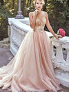 A Line Pink Prom Dress Lace Cheap Long Prom Dress #VB2378