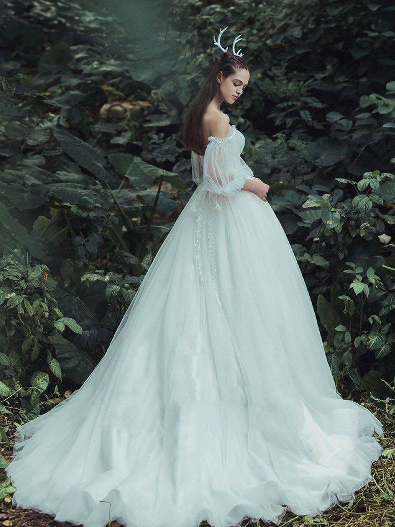 Vintage Ivory Wedding Dress Cheap Tulle Wedding Dress # VB2387 ...
