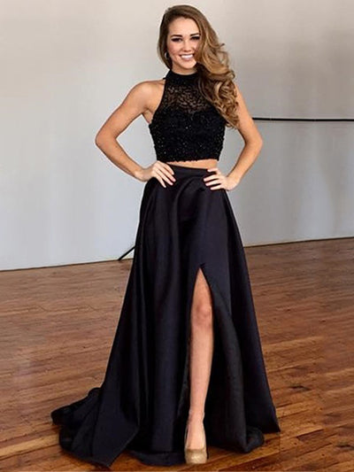 A-line Scoop Floor-length Sleeveless Satin Prom Dress/Evening Dress #VB239