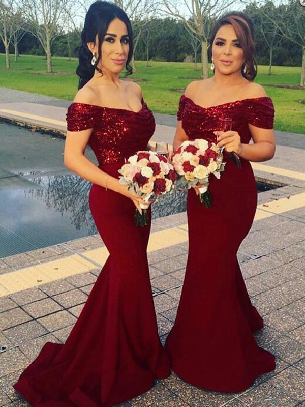 2f164611ab2 Mermaid Burgundy Bridesmaid Dresses Sequins Cheap Bridesmaid Dresses   -  DemiDress.com