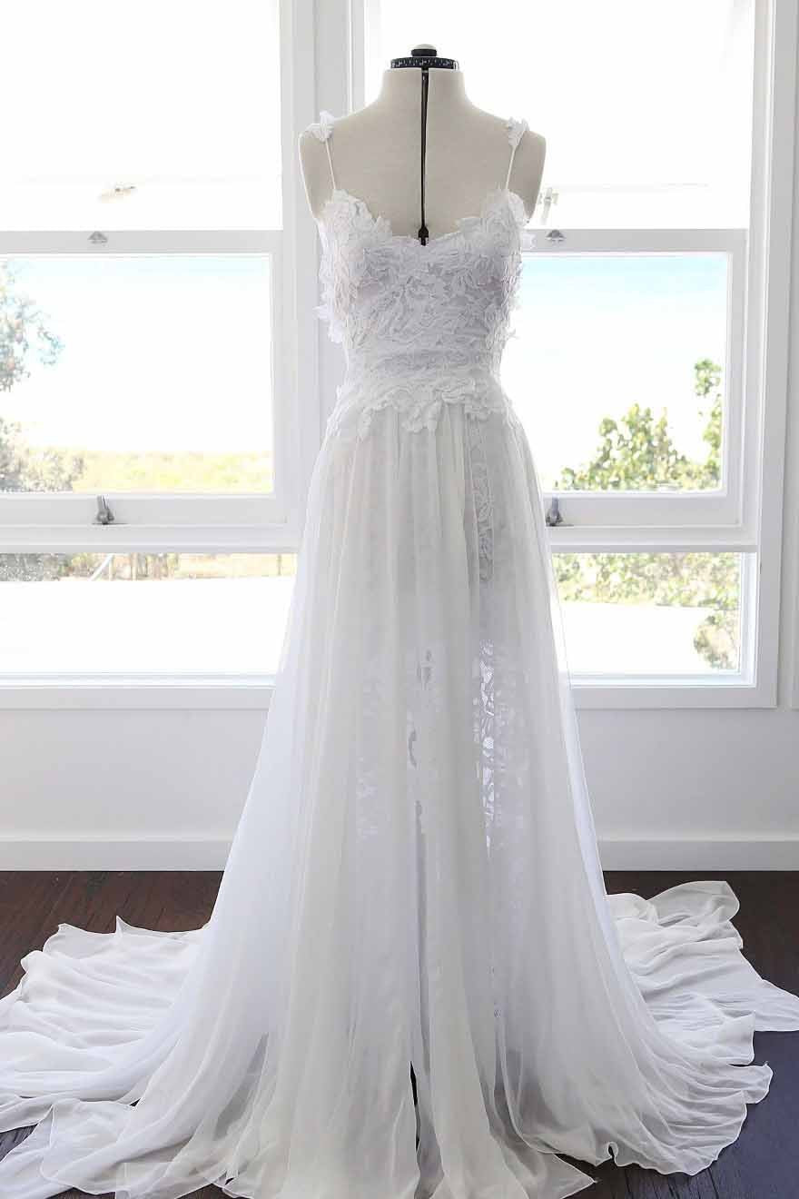 2018 Cheap Wedding Dress Chiffon Beach Wedding Dress # VB2413