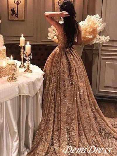 Chic Gold Prom Dress Vintage Unique Long Prom Dress #VB2415
