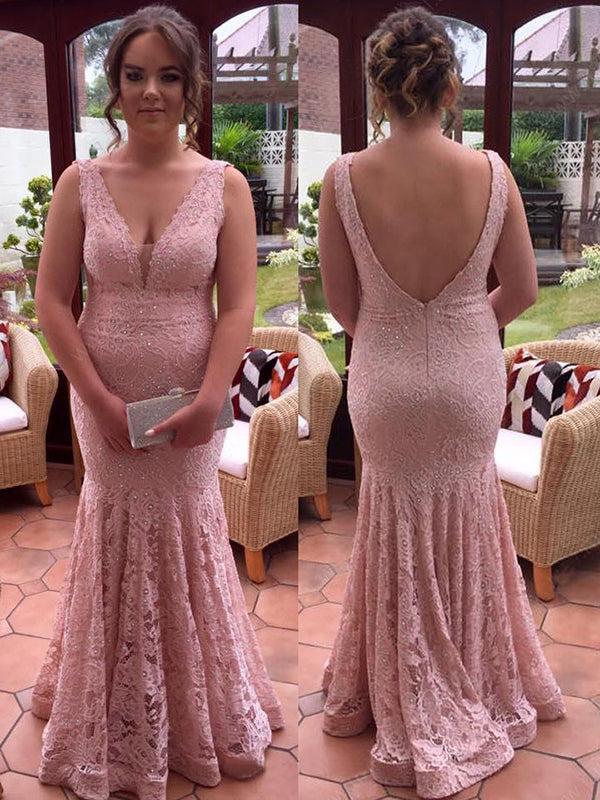 Mermaid Pink Prom Dress Lace Plus Size Prom Dress #VB2453
