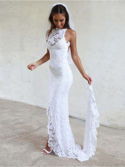 2018 Cheap Wedding Dress Lace White Beach Wedding Dress # VB2454 - DemiDress.com
