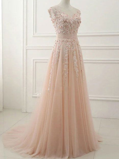 2018 A Line Prom Dress Lace Cheap Long Prom Dress #VB2456 - DemiDress.com
