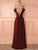 Burgundy Chiffon Prom Dress Lace Cheap Long Prom Dress #VB2457