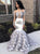 Mermaid Long Prom Dress Long Sleeve  Silver Sexy Prom Dress #VB2476