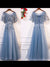 A-line Scoop Floor-length Short Tulle Prom Dress/Evening Dress #VB247