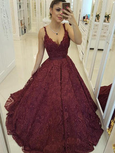 Chic Burgundy Prom Dress Lace Ball Gown Prom Dress # VB2486