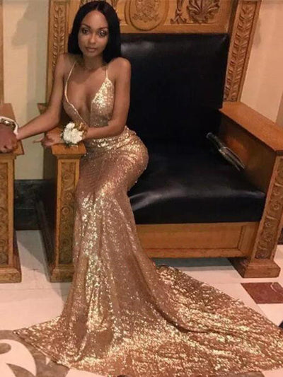 2018 Mermaid Prom Dress Lace Sequins Sexy Prom Dress # VB2487 - DemiDress.com