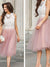 A-line Scoop Tea-length Sleeveless Tulle Homecoming Dress/Short Dress #VB248