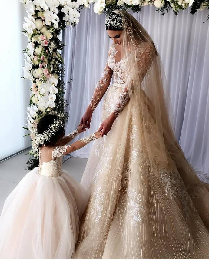 Ivory Ball Gown Flower Girl Dresses Lace Long Sleeve Flower Girl Dresses #VB2527