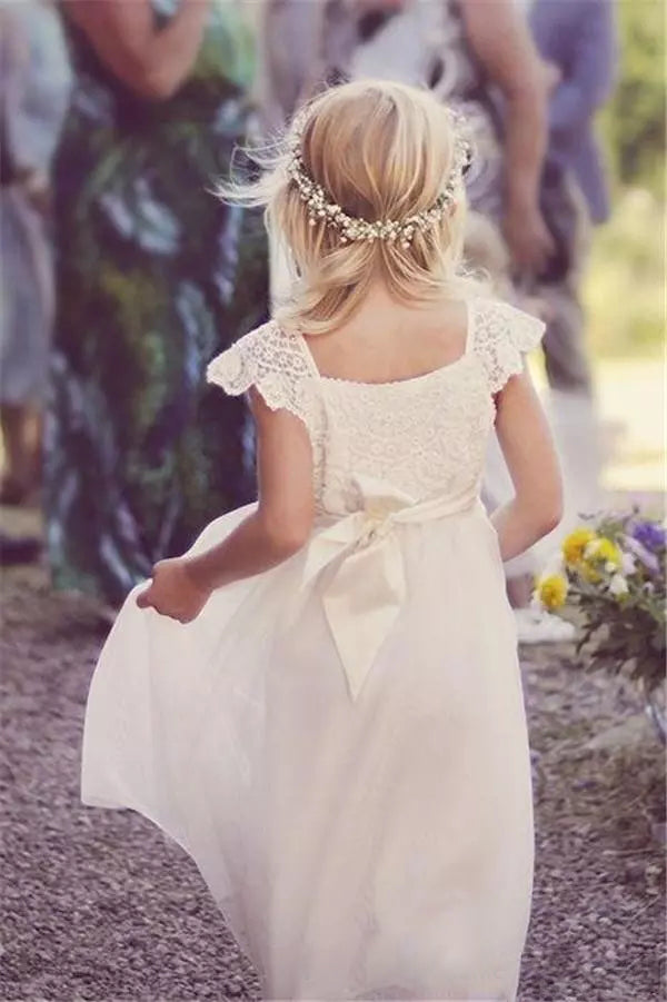 Ivory Chiffon Flower Girl Dresses Lace Cute Cheap Flower Girl Dresses #VB2531