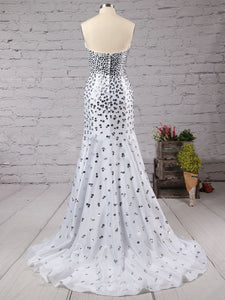 Chic Mermaid White Prom Dress Sexy Party Long Prom Dress #VB2536