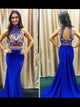 Trumpet/Mermaid High Neck Sweep/Brush Train Sleeveless Chiffon Prom Dress/Evening Dress #VB254